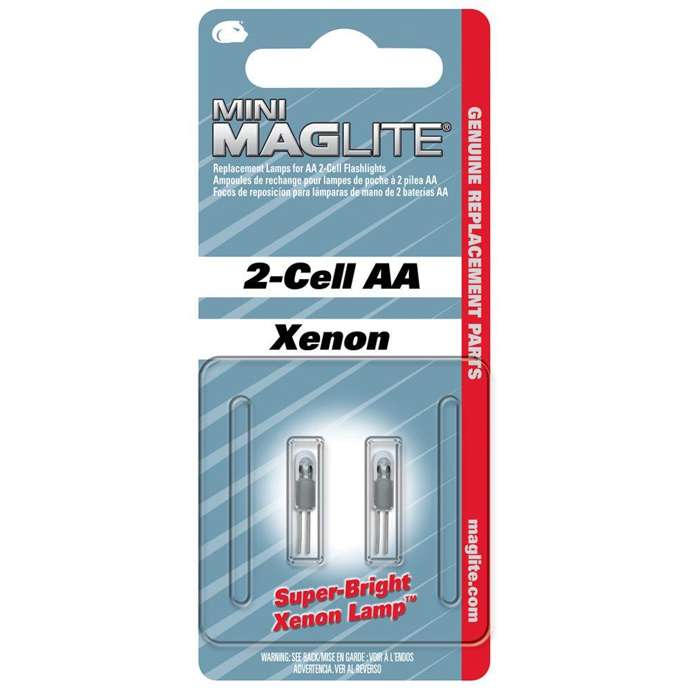 MINI MAGLITE Xenon Replacement Lamp for Mini 2-Cell AA Flashlight Bi-Pin 2 Pack
