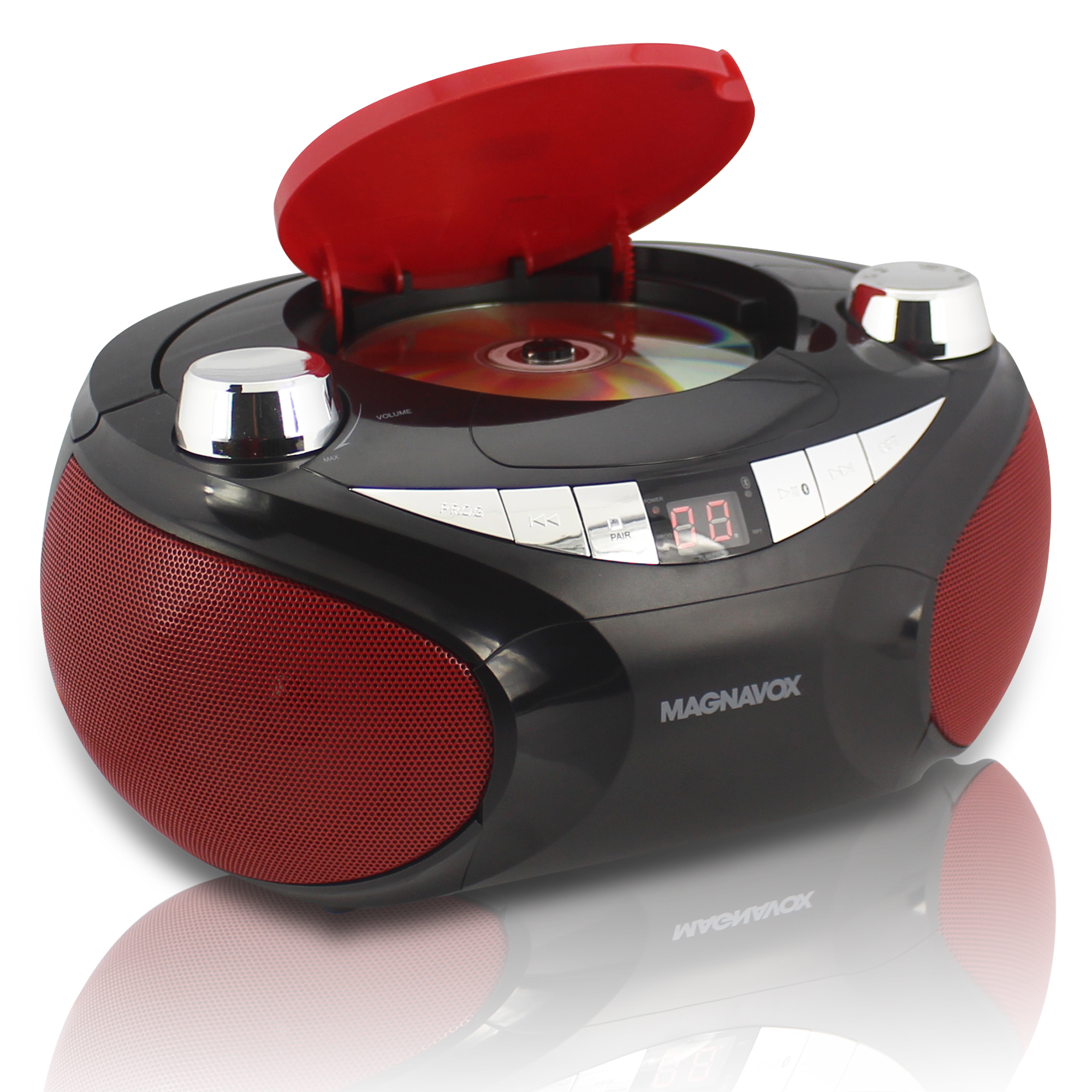 MAGNAVOX MD6949 RED CD BOOMBOX WITH AM FM STEREO RADIO
