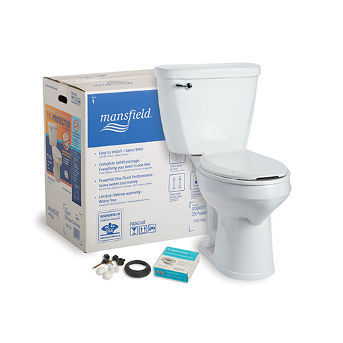 MANSFIELD� PROTECTOR ELONGATED ADA COMPLETE TOILET KIT WITH OVERFLOW PROTECTION, 1.6 GPF, WHITE