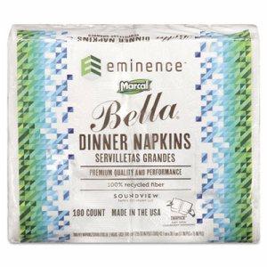 100% Premium Recycled Bella Dinner Napkins, 15 x 17, White, 3000/Carton