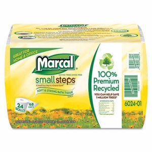 100% Recycled  Bundle Two-Ply Bath Tissue Roll, White, 168 Sheets, 24/Carton