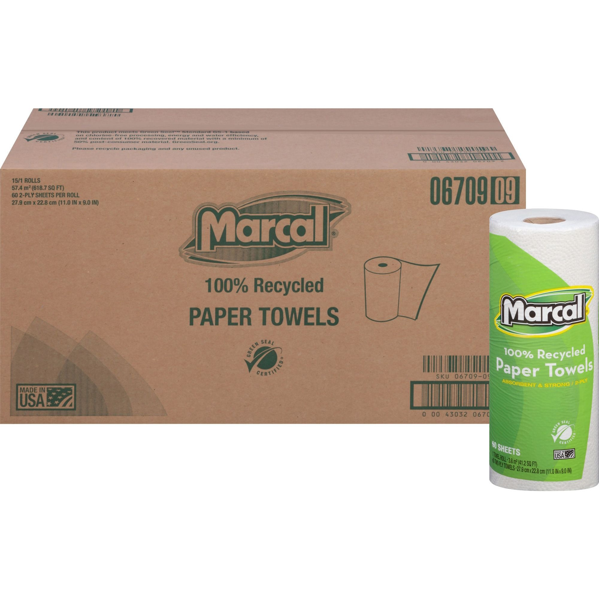 100% Recycled Roll Towels, 9 x 11, 60 Sheets, 15 Rolls/Carton