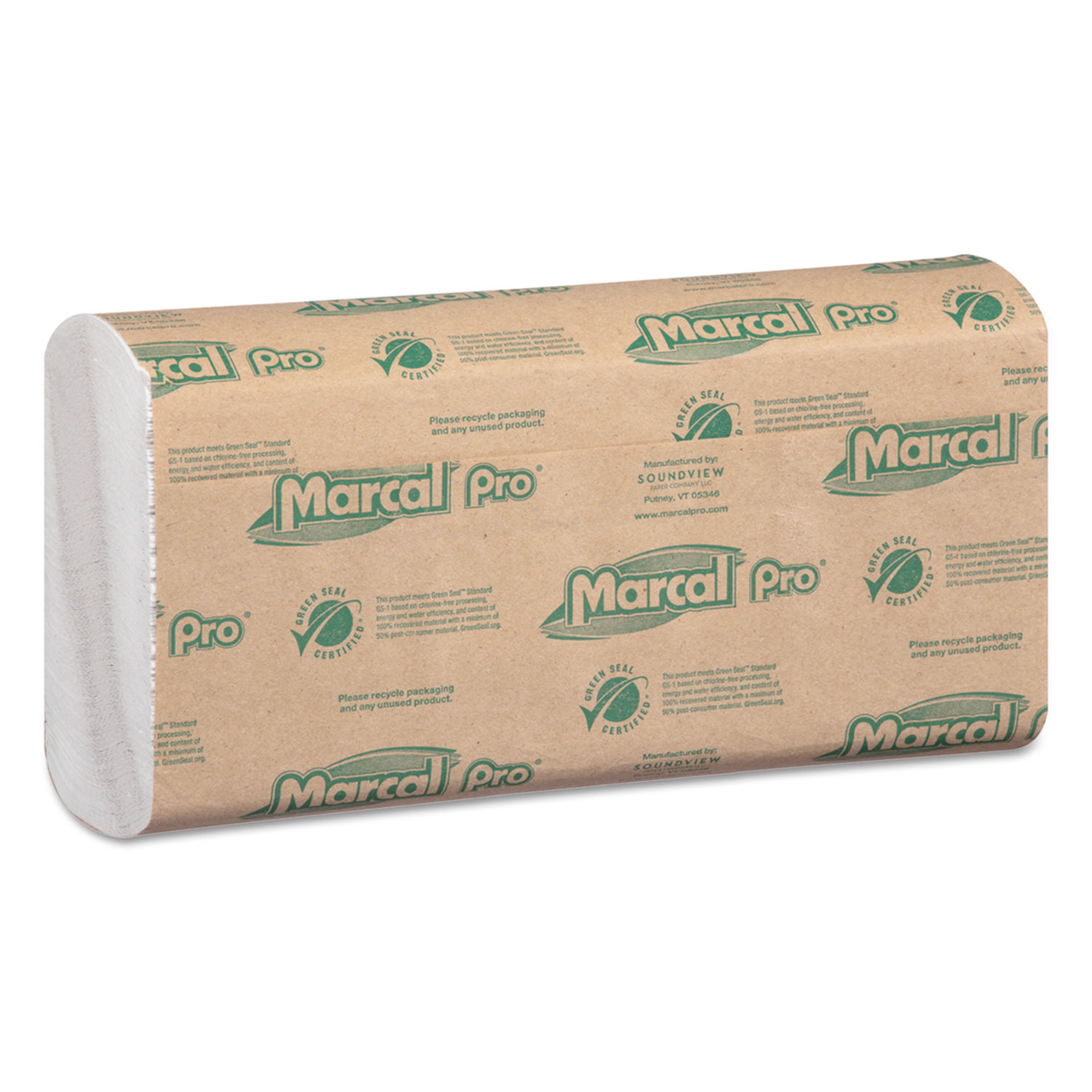 100% Recycled Folded Paper Towels, 10 1/2x12 3/4,C-Fold, White,150/Pk, 16 Pks/Ct