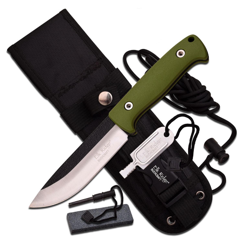 "Elk Ridge 10.5"" Satin Blade w/Green Cord Wrap Handle -Sheath"