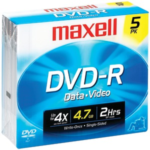 DVD-R Discs, 4.7GB, 16x, w/Jewel Cases, Gold, 5/Pack