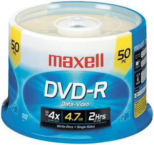 DVD-R Discs, 4.7GB, 16x, Spindle, Gold, 50/Pack