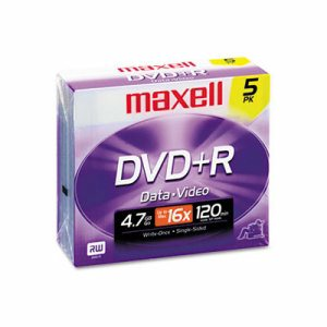 DVD+R Discs, 4.7GB, 16x, w/Jewel Cases, Silver, 5/Pack