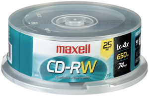 MAXELL 630026 700MB 80-Minute CD-RWs (25-ct Spindle)