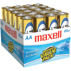 MAXELL 723453 - LR620MP ALKALINE BATTERIES (AA; 20 PK; BRICK)