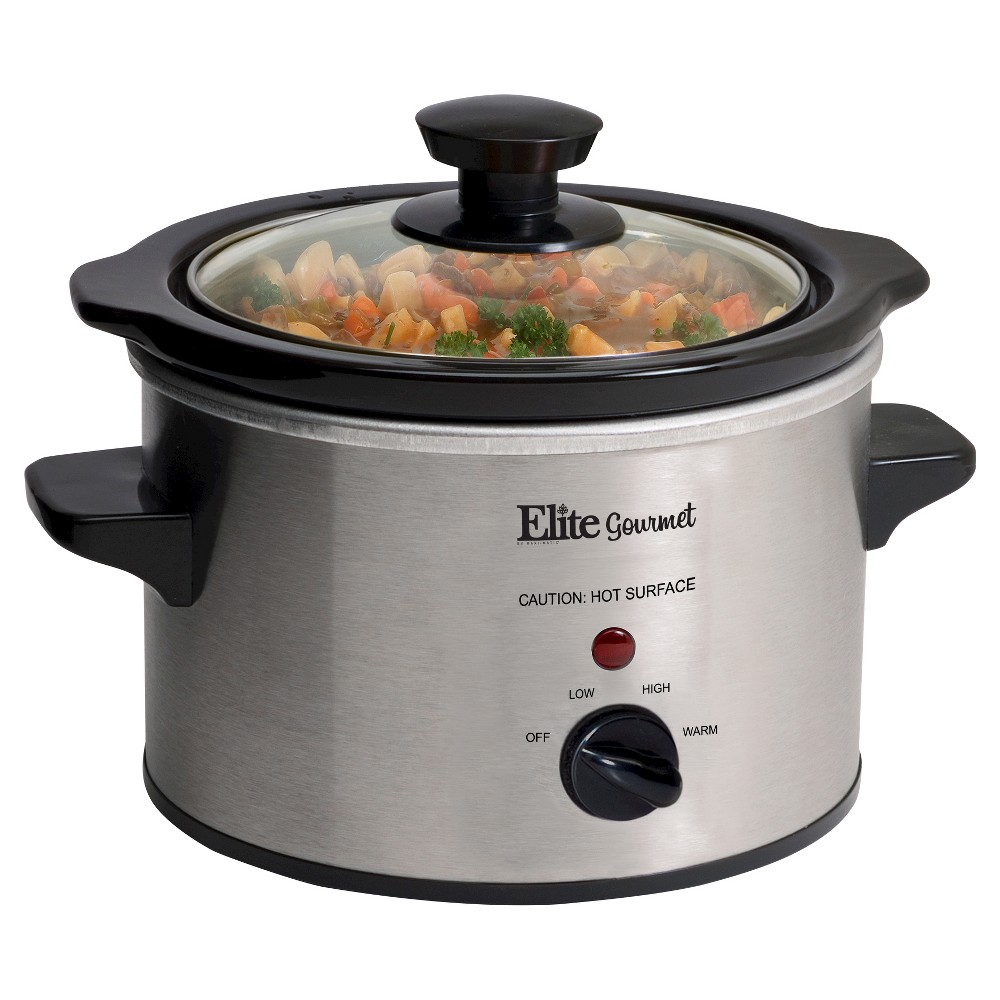 ELITE GOURMET MST250XS MINI SLOW COOKER 1.5QT STAINLESS STEEL