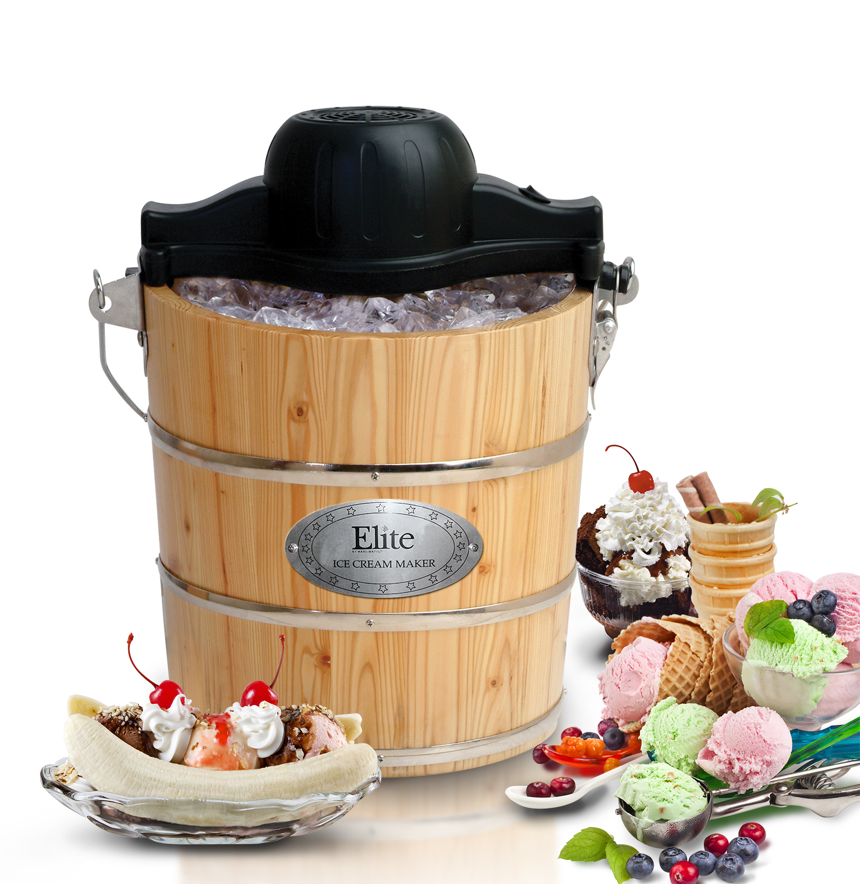 ELITE GOURMET EIM-502 4QT ICE CREAM MAKER ELECTRIC AND MANUAL