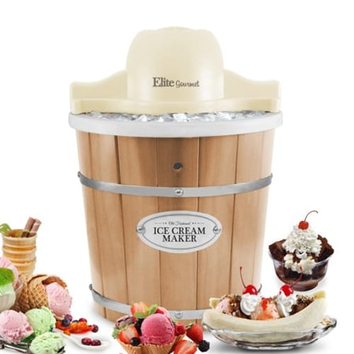 ELITE GOURMET EIM-924L OLD FASHIONED PINE BUCKET ELECTRIC ICE
