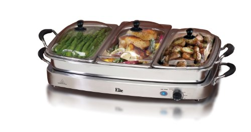 ELITE PLATINUM EWM-9933 STAINLESS STEEL TRIPLE BUFFET SERVER