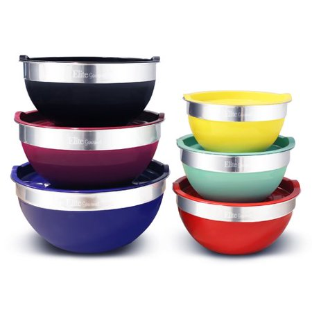 ELITE GOURMET EBS-0012 COLORED MIXING BOWLS WITH LIDS 12PC