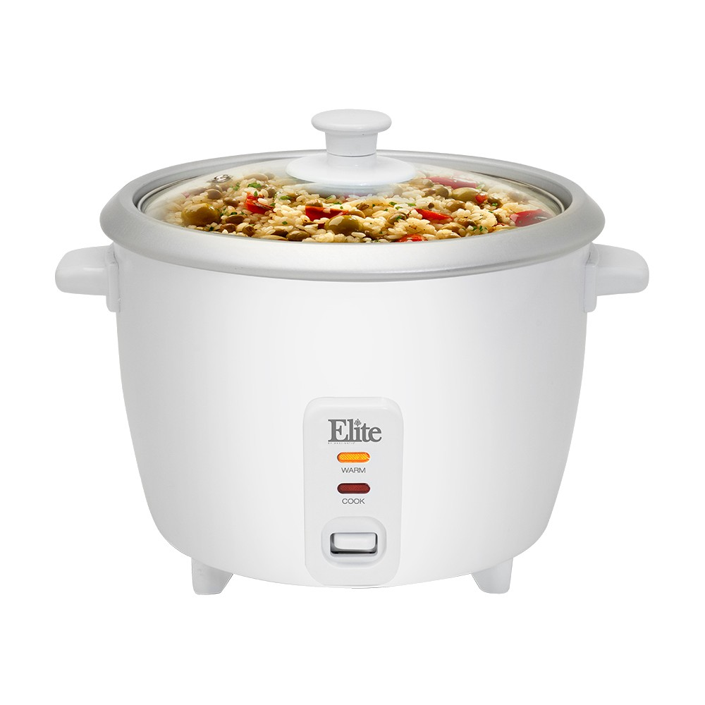 ELITE CUISINE ERC-003 6 CUP RICE COOKER WITH GLASS LID