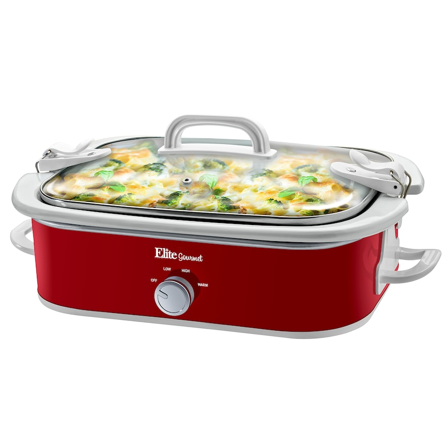 ELITE GOURMET MST-5240 RED 3.5QT CASSEROLE SLOW COOKER WITH