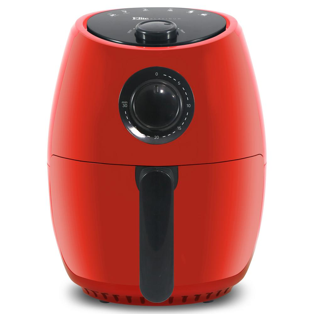 ELITE EAF-0201R RED 2.1 QUART HOT AIR FRYER WITH ADJUSTABLE