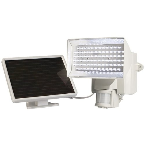 MAXSA Innovations 40225-L Solar-Powered 80-LED Motion-Activated Outdoor Security Floodlight (White)