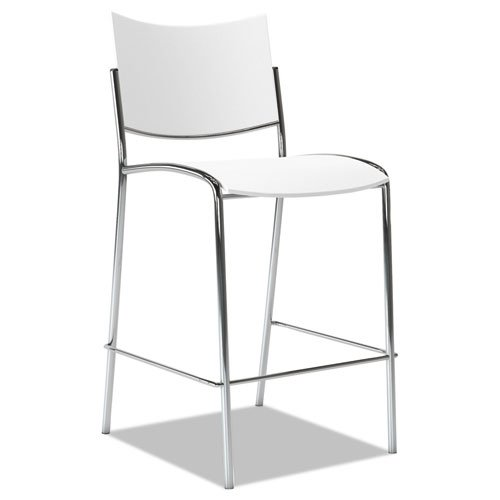 Escalate Stacking Stool, Plastic Back/Seat, White, 2 Stools/Carton