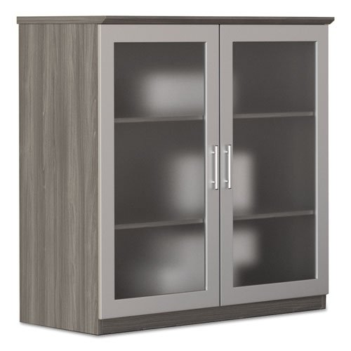 Medina Series Glass Display Cabinet, 36 w x 20d x 39 1/4h, Gray Steel
