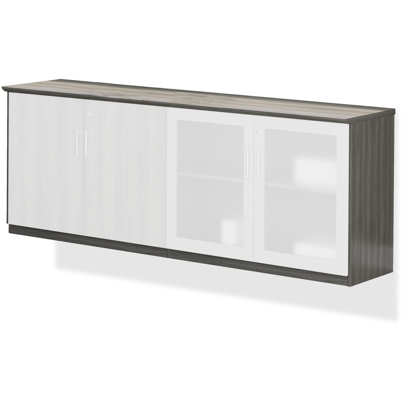Medina Series Low Wall Cabinet with Doors, 72w x 20d x 29 1/2h, Gray Steel, Box1