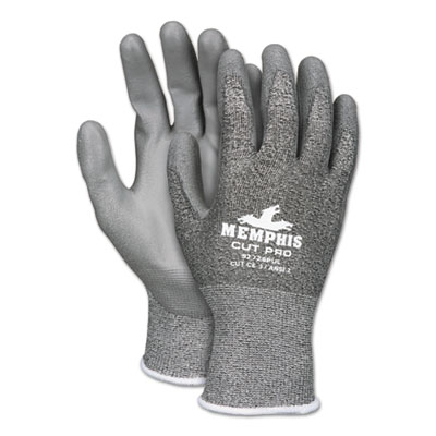 Memphis Cut Pro 92728PU Glove, Black/White/Gray, Small, Dozen