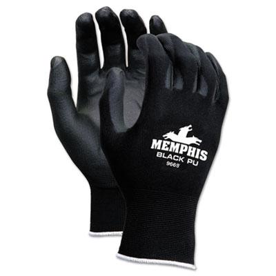 Economy PU Coated Work Gloves, Black, Medium, 1 Dozen