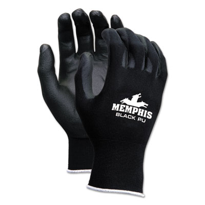 Economy PU Coated Work Gloves, Black, X-Small, 1 Dozen