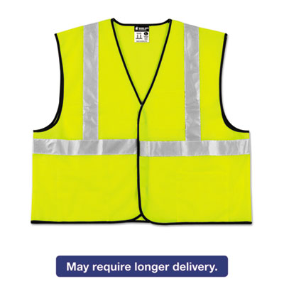 Class 2 Safety Vest, Lime Green w/Silver Stripe, Polyester, 3X-Large