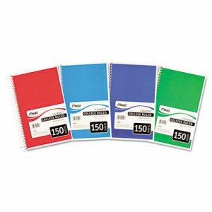Spiral Bound Notebook, Perforated, College Rule, 9.5 x 5.5, White, 150 Sheets