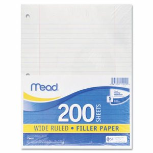 Filler Paper, 15lb, Wide Rule, 3 Hole, 10 1/2 x 8, 200 Sheets