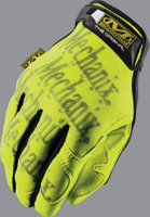 Mechanix Wear+ Large Hi-Viz Yellow The Safety Original+ Full Finger Synthetic Leather And Spandex Mechanics Gloves With Hook and