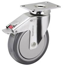 HOSPITAL CASTER, CHROME, 5 IN., DIRECTION LOCK, 260 LBS CAPACITY