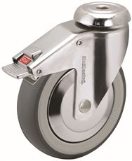 HOSPITAL CASTER, CHROME, 4 IN., TOTAL LOCK, 240 LBS CAPACITY