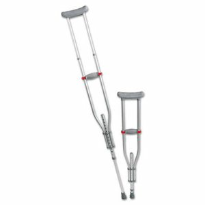 "Quick Fit Push Button Aluminum Crutches, Adjustable, 4' 7"" to 6' 7"""