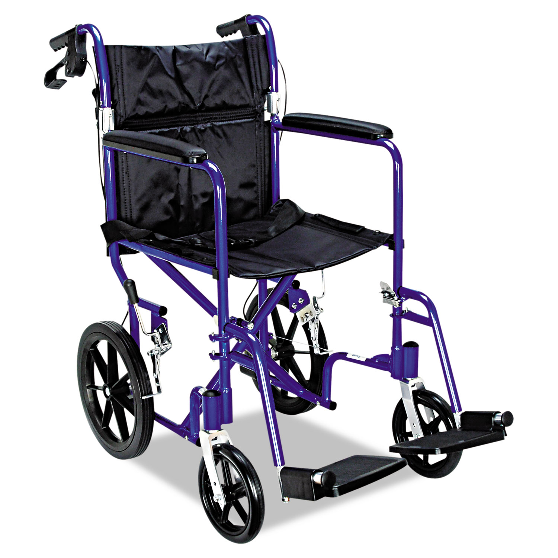 Excel Deluxe Aluminum Transport Wheelchair, 19w x 16d, 300lb Cap