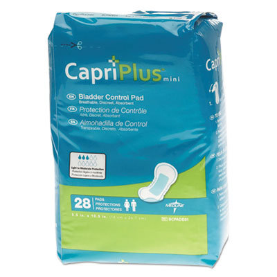 "Capri Plus Bladder Control Pads, Regular, 5 1/2"" x 10 1/2"", 28/Pack"