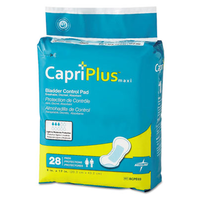 "Capri Plus Bladder Control Pads, Ultra Plus, 8"" x 17"", 28/Pack, 6/Carton"