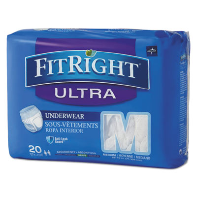 "FitRight Ultra Protective Underwear, Medium, 28-40"" Waist, 20/Pack, 4 Pack/Ctn"