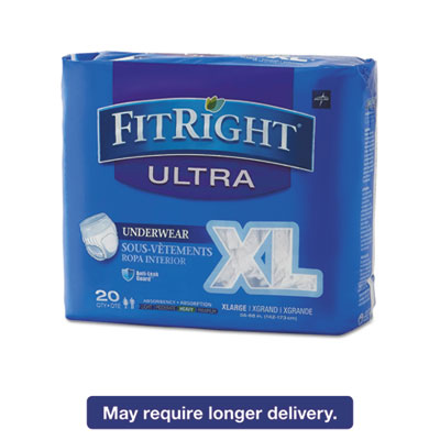 "FitRight Ultra Protective Underwear, X-Large, 56-68"" Waist, 20/Pack"