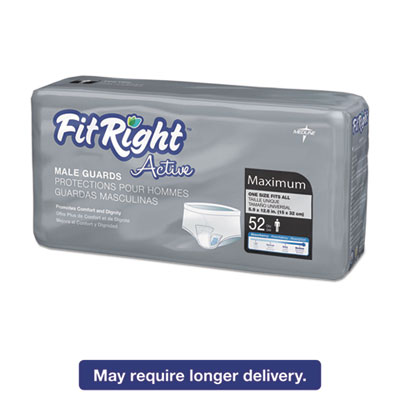 FitRight Active Male Guards, 6 x 11, White, 52/Pack