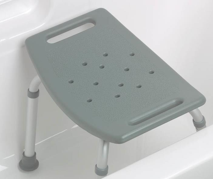 Aluminum Bath Bench without Back, Gray