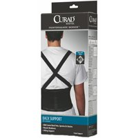 Curad ORT22200XLD Latex Free Back Support With Suspenders, 1-Piece 38 - 42 in L x 10 in H, Black