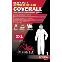 Medline Venom Chemical-Resistant Coverall, 2XL, Fabric, Blue, Elastic Ankle, Elastic Cuff
