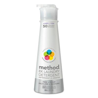 8X Laundry Detergent, Free & Clear, 20 oz Bottle, 6/Carton