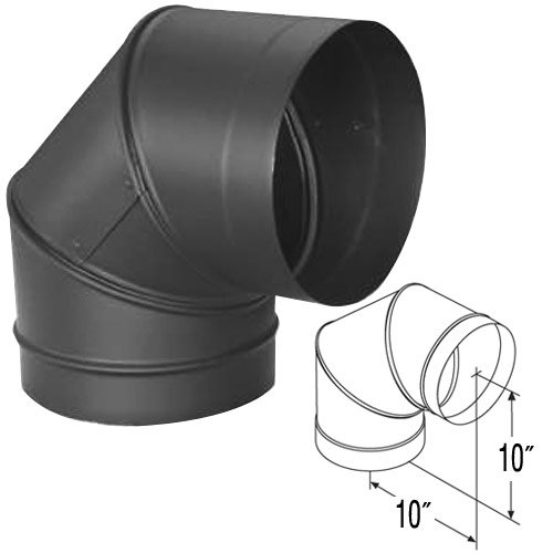 """10"""" DuraVent DuraBlack 90 Degree Sectioned Elbow, Adjustable"""