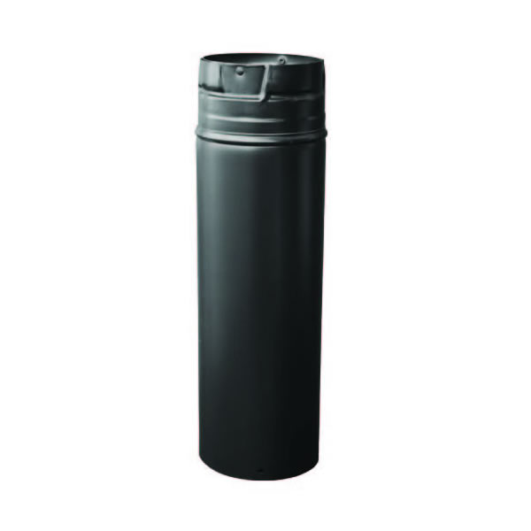 "4"" x 12"" Pelletvent Pro Pipe, Adjustable 4""-10"", 304-alloy Stainless Inner Liner, Black Outer"