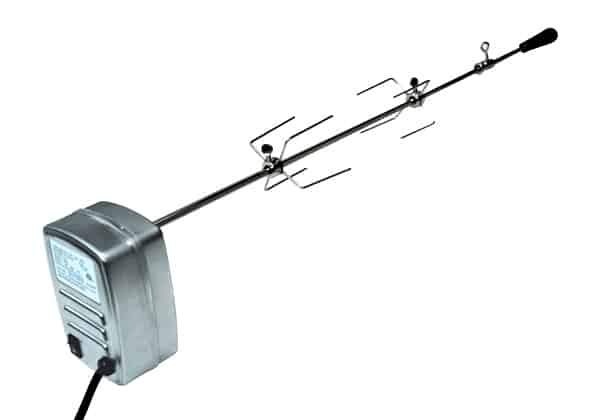 Complete deluxe rotisserie kit for MHP grills. Includes heavy duty motor, motor mounting bracket, rotisserie spit rod, handle, b