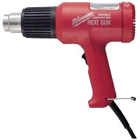 Milwaukee 8975-6 Dual Temperature Corded Heat Gun, 120 VAC, 11.6 A, 1392 W, 570 - 1000 deg F, 15 cfm, Red