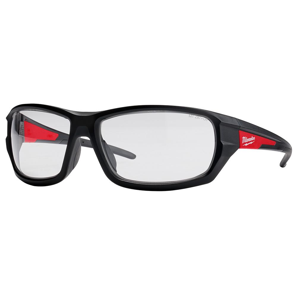 GLASSES SFTY RED/BLK FRM CLEAR